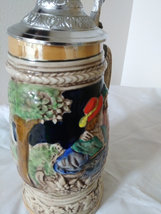 Vintage Beer Stein Music Box look-alike is signed Japan German Village Scene & L image 5