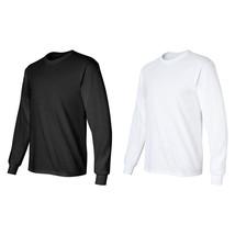 50/PK Black/White Gildan Ultra Cotton Mens Crewneck Long Sleeve T-Shirts... - $242.79