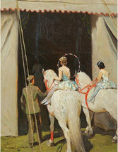 circus performs on elephant in shows by Victor Coleman Anderson 11x14 ca... - $23.99