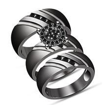 Mens Womens Engagement Trio Ring Set Black Gold Finish 925 Silver Black ... - $165.99