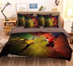 3D Fly Parrots 2 Bed Pillowcases Quilt Duvet Cover Set Single Queen King Size AU - $90.04+