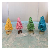 Set of 4 mini glittered sisal Trees: mint green... - $6.00