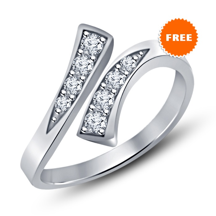 14K White Gold Fn Engagement White Sim Diamond Silver Trio Ring Set & Free Gift