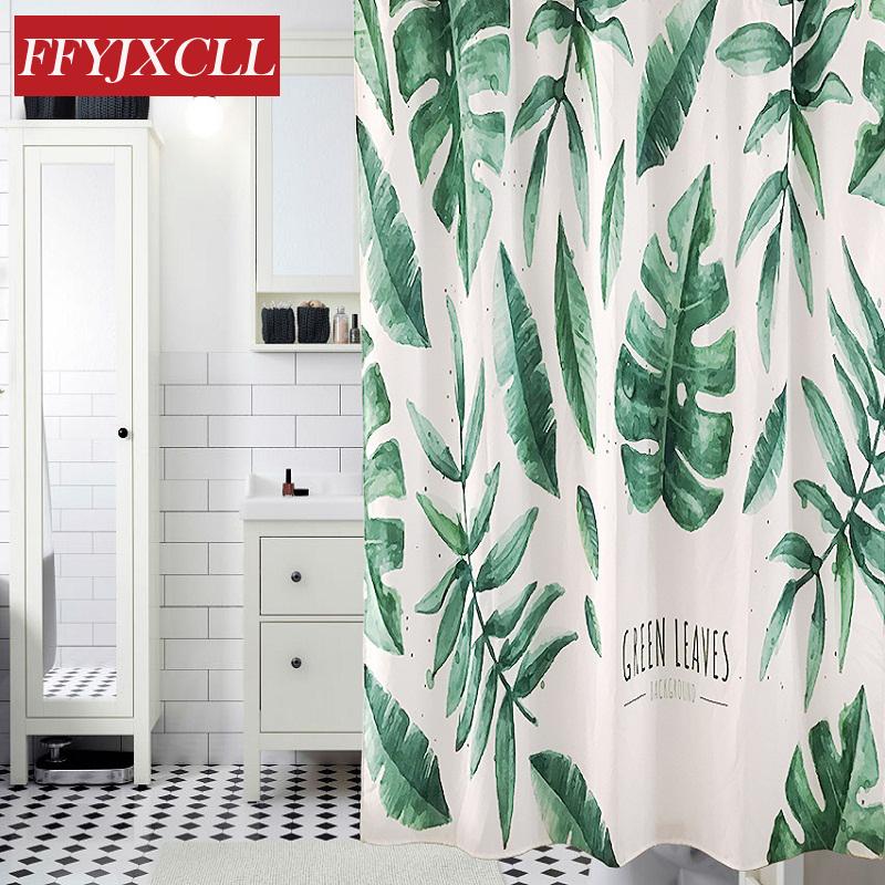 Igital printing banana leaves shower curtain waterproof mildew home bathroom curtain custom made