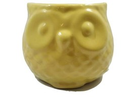 Owl Bright Yellow Ceramic Planter Vase Bowl Dish 3D 3 1/2in high  - $14.36