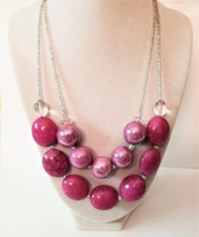 Minimalist Pink Necklace, Beaded Necklace, Purple Minimalist Necklace, M... - $26.00