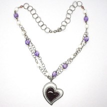 Silver 925 Necklace, Amethyst, Agate White, Heart Pendant, Chain Two Row image 2
