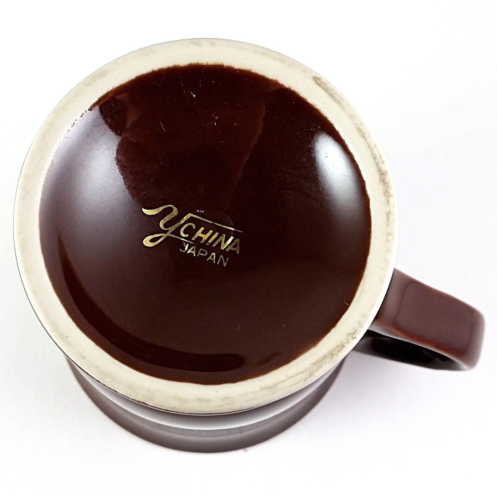 Peacock Pedestal Coffee Mug Cup Brown Vintage Ychina Japan 10oz Gold Trim k758