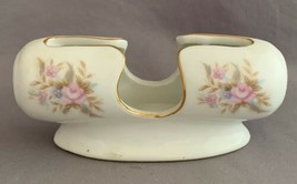 Vintage Lefton Japan Floral Porcelain Toothpick Holder or Business Card ... - $9.00