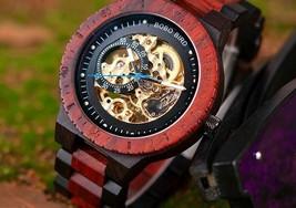 Vintage Luxury Men Watch Mechanical Wood Automatic Wristwatch Wooden Man... - $172.99