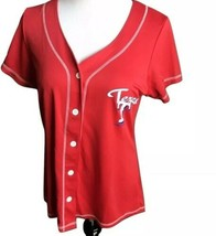 New Texas Rangers Baseball Jersey Womens Large Mlb Button Up Red Top Shirt - $19.75