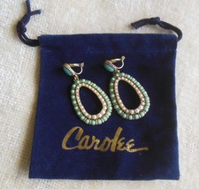 Signed Carolee Turquoise and Faux Pearl Oval Dangle Clip Earrings W/Pouch - $54.45