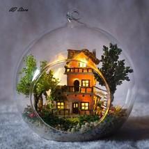 Glass BALL Doll House Model Wooden Miniature DIY Furniture Kit CHRISTMAS... - $12.82