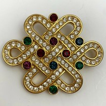 Swarovski Infinity Loop Celtic Knot Brooch Pin Signed Rhinestone Crystal - $84.10