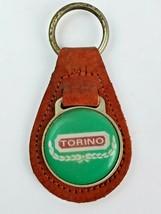 Vintage Ford Torino Logo Leather Keychain KeyRing FOB Tab Burnt Orange - $16.45