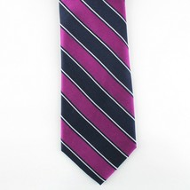 Club Room Neck Tie Purple Navy Blue Mark Tex Stripe 100% Silk Mens New - $14.99
