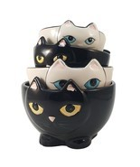 Adorable Ceramic Black and White Cats Nesting M... - $17.96