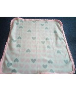 Hand Finished Crochet Border Baby Blanket. 30 x 30inches PINK. - $6.92