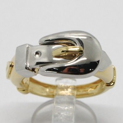 18K YELLOW & WHITE GOLD BAND RING FINELY WORKED BUCKLE CENTRAL, MADE IN ITALY