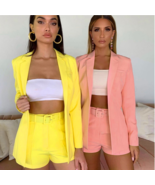Elegant Fashion 2 Piece Sets Womens Outfits Solid Color Blazer Shorts Se... - $41.87
