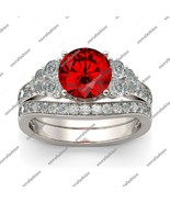 White Gold Plated 925 Silver 1Ct Round Cut Red Garnet Women's Bridal Ring Set - $86.99