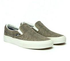 Vans Classic Slip On (Cheetah Suede) Tan Black Womens Casual Shoes - $52.95