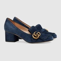 NIB GUCCI Marmont blue suede fringe GG pumps shoes IT 38.5; Rtl $790 - $579.42