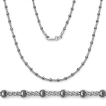 Women's Stylish Italian 925 Silver Black Rhodium Bead Mesh Link Chain - $29.26+