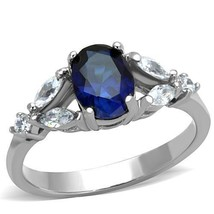 Women's 1.5 Carat Stainless Steel Blue Oval Cut CZ Engagement Ring Size ... - $12.59