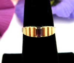 PURPLE BAGUETTE RHINESTONE RING Vintage Stepped Segmented Front Goldtone... - $16.99