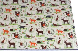 Woodland Animals Beige Brown Linen Look High Quality Fabric Material *3 ... - $1.79+