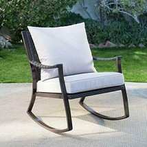 Modern Rich Espresso Brown Resin Wicker Patio Rocking Chair Outdoor Porc... - $256.41