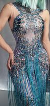 Womens Blue Sleeveless Tassel Sequin Dress Blue Sexy Jazz Singer Dancer Stage Co image 6
