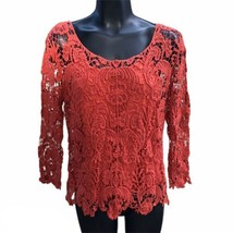 Coral Lace Long Sleeve Two-Piece Top Womens Small Shirt 3/4 Sleeve Casua... - $16.78