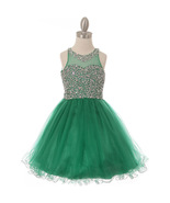 Emerald Green Sequins Beaded Illusion Bodice Wired Tulle Skirt Corset Ba... - $95.99+