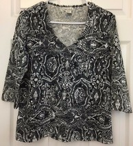 Women's Nicola Knit Top Shirt Dressy Black White Floral V Neck Size L 3/... - $12.82