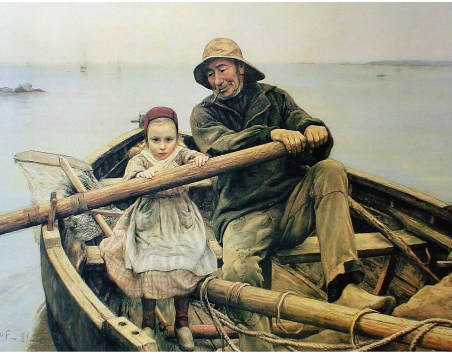 "Primary image for 3~ 11x14"" art prints.  Cotton Canvas Print, Helping Hand, 1881, Your choice of a"