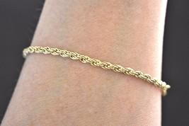 "VTG Delicate 14k GP Minimalist Chain Mail Bracelet Marked Korea 7.75"" - $15.79"