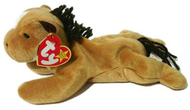 """Vintage 90s Ty Beanie Baby Derby Horse Pony Beanbag Plush 7.5"""" Toy Brown... - £13.59 GBP"""