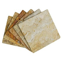 Stella Drink Coasters 6pc Scabos Travertine Premium Absorbent Natural Stone - $27.40