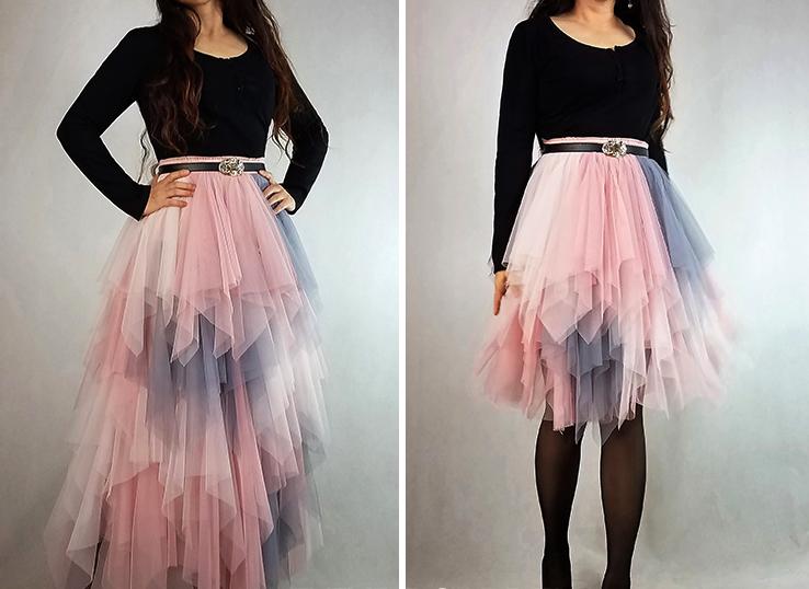 Women's Sweet High Waist Hi-lo Tiered Tulle Layered Ruffle Mesh Long Tier Skirt