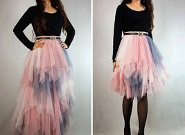 Women's Sweet High Waist Hi-lo Tiered Tulle Layered Ruffle Mesh Long Tier Skirt image 3