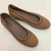 Easy Spirit Derely Wedge Heels Espadrilles Tan Leather Geometric Design Size 8M - $27.49