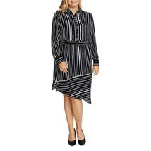 Vince Camuto Womens Black Striped Asymmetric Hem Shirtdress Plus 1X, 2X,... - $85.00