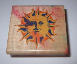 Ornamental SUN Rubber Stamp Sunshine Face Wood Mounted Stampede - $4.25