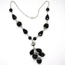 925 silver necklace, black onyx round, drop, pendant cluster image 2