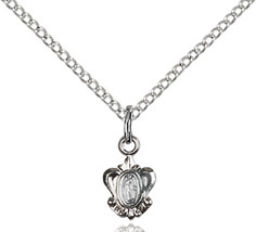 Sterling Silver Miraculous Pendant 3/8 x 1/4 inch with 18 inch ChainPL - $43.55