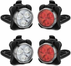 Rechargeable 4 LED Bicycle Headlights Front and Rear Waterproof with Ba... - $29.39