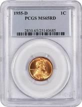 1955-D 1c PCGS MS65 RD - Lincoln Cent - $24.25