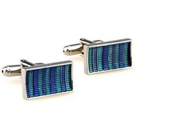 Frederick Thomas blue and turquoise striped rectangular cufflinks FT2846